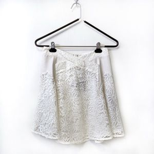 The Kooples Genuine Leather Trim Lace Skirt